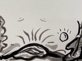Dibujo en tinta sobre papel de Emanuel Torres